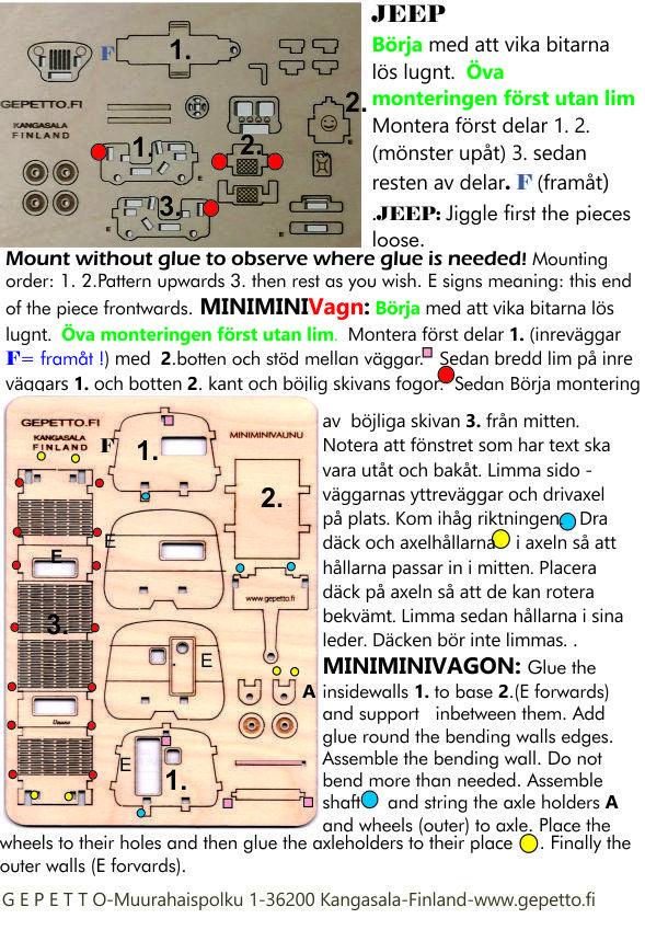 Retrovagn och Jeep instruktioner