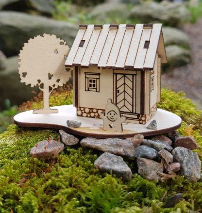 Vanerinen postikortti - tontun sauna