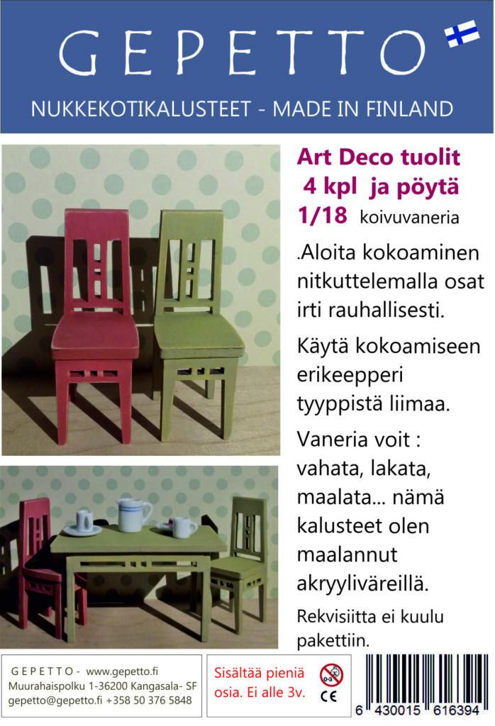 ArtDeco tuolit ja pöytä 1:18